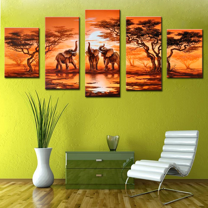5 Pieces Canvas Painting African Modern Art Elephants Live Wall Decoration Pictures Handmade Landscape Oil Painting