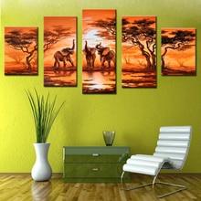 5 шт. Африканский Холст Картины Современные Книги по искусству Слоны живут украшения стены фотографии ручной работы пейзаж маслом без рамы