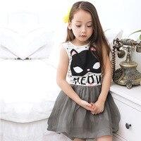 Блестящие сладкий Дизайн Летнее платье для девочек принцессы одежда без рукавов милый кот дети костюм праздник детская Платья для женщин