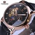 Los hombres relojes de primeras marcas de moda de lujo relojes automáticos 2017 forsining tourbillon informal diseñador negro caja de oro reloj reloj