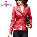 Women Leather Jacket 2017 Spring Fashion PU Motorcycle Jacket Clothing Female Black Red Leather Coat Plus Size Jaqueta de couro