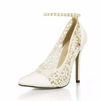 2017 New Ivory Sexy Wedding Party Shoes Women Pointed Toe Stiletto Super High Heels Chain Lace
