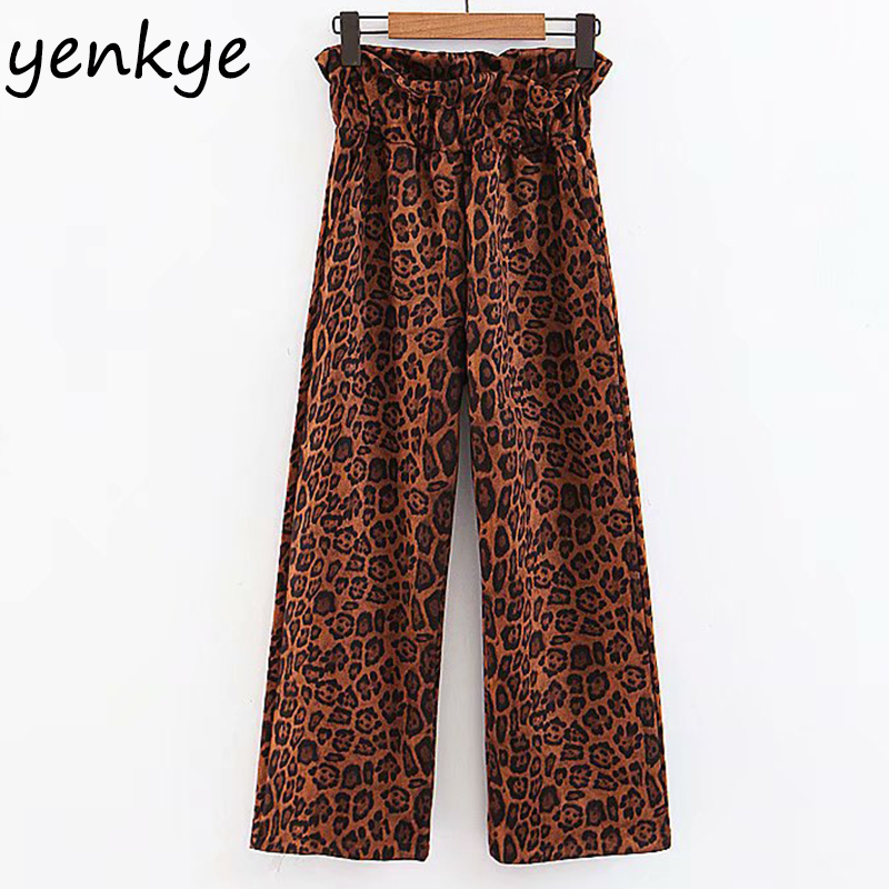 European Style Women Vintage Leopard   Wide     Leg     Pants   Female Casual Loose Trousers Elastic High Waist   Pants   pantalon femme
