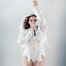 Ночной клуб Beyonce сексуальная танцевальная одежда с кружевом перспективный соединенный костюм певица джаз танец хип-хоп костюм боди для женщин
