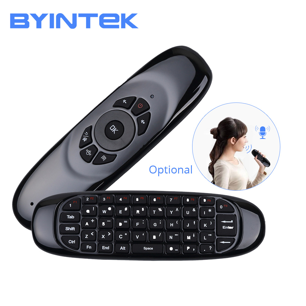 BYINTEK Wireless Air Mouse, Game Keyboard Rechargeable 2.4GHz Universal Smart Controle Remote For Android Projector Pc