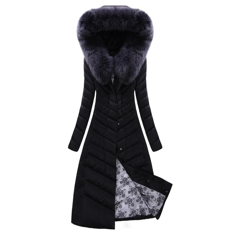 51c7d7d1b919 Winter Fox Fur Down Jacket Female 2018 New White Goose Down Super Long  Knees Slim Luxury