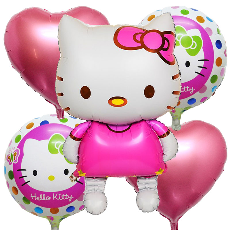 5pcs/lot Hello kitty foil Balloons Birthday Party Decorations inflatable Birthda