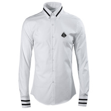 Spring Autumn Mens Long Sleeve Luxury Design Print Dress Shirt