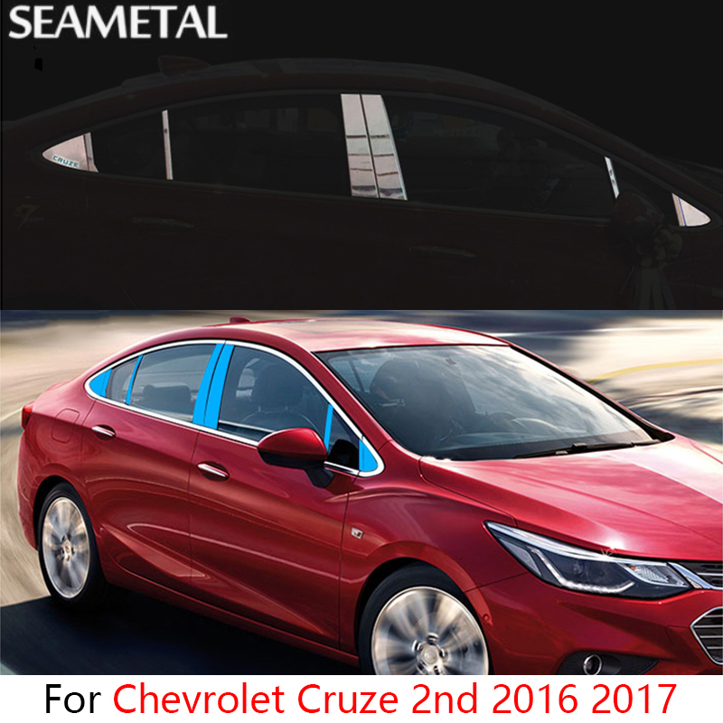 For Chevrolet Cruze 2nd 2016 2017 Car Window Center Pillar Stickers Sequins External Decoration Auto Accessories Car-styling 2016 stainless steel car styling front cup holder panel sequins for buick regal 2009 2016 car accessories decoration sequins