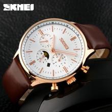 Relojes Hombre 2016 Famous brand Skmei 9117 men watch Leather Quartz Watch Black business Watch Military