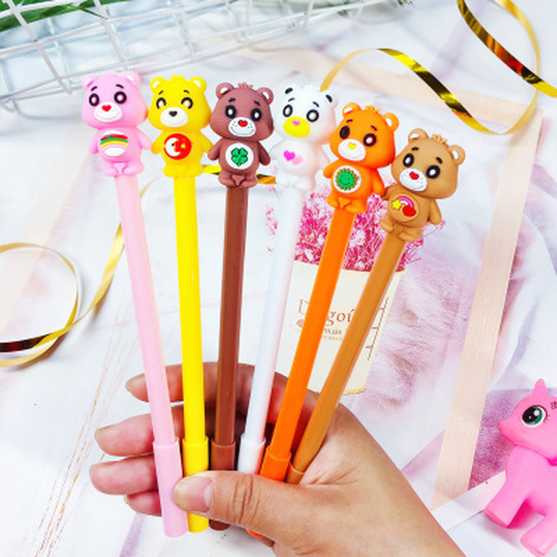 1pcs Bear Gel Pen 0.5mm Kawaii Pen Novelty Stationery Cute Pens Student Black Signing Gel Pens Stationery Kawaii School Supplies