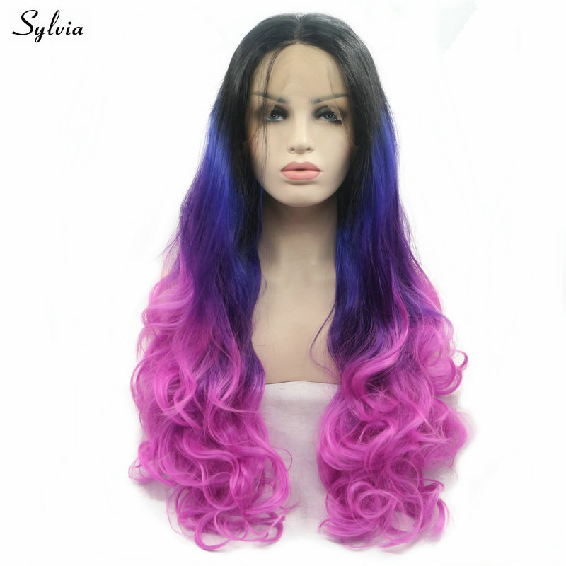 Sylvia Black Roots Ombre Drill Blue/pale Purple Wig Long Body Wave Synthetic Lace Front Wig For Women Natural Hairline Cosplay Pure White And Translucent Hair Extensions & Wigs
