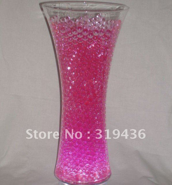 Free Shipping Clear Glassware Flower Vase Using Crystal Water Gel