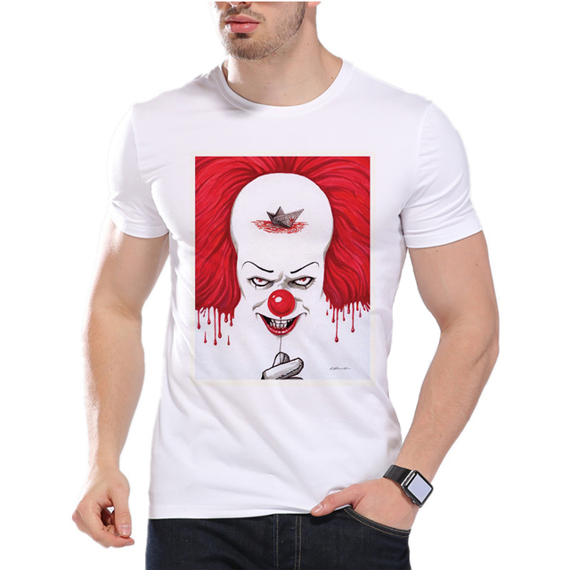 926bb8f6f Men IT T-shirt Summer Stephen King It Horror Movie The Dancing Clown  Pennywise Monster Printed Short Sleeve T Shirt D7-8#