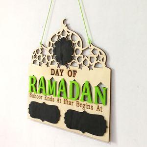 Image 2 - 1 conjunto islam ramadan contagem regressiva para eid mubarak advento de madeira pendurado placa mensagem casa diy decorações artesanato festa suprimentos
