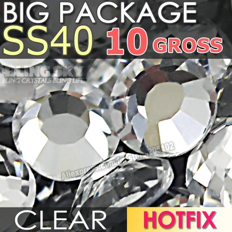 Big Package 10Gross SS40 Clear Crystal Big DMC HotFix FlatBack Rhinestones strass for DIY Hot Fix