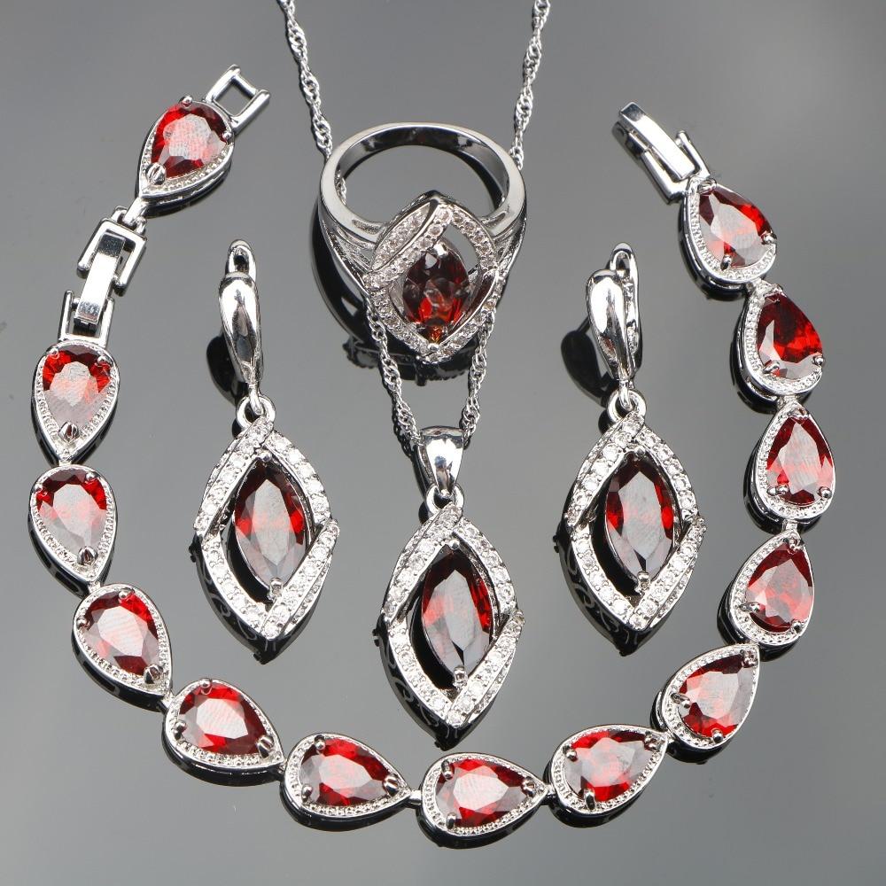 Dark Red Zircon 925 Silver Jewelry Sets Wedding Women Bracelets Earrings With Stones Necklace Rings Set of Jewelery Gift Box