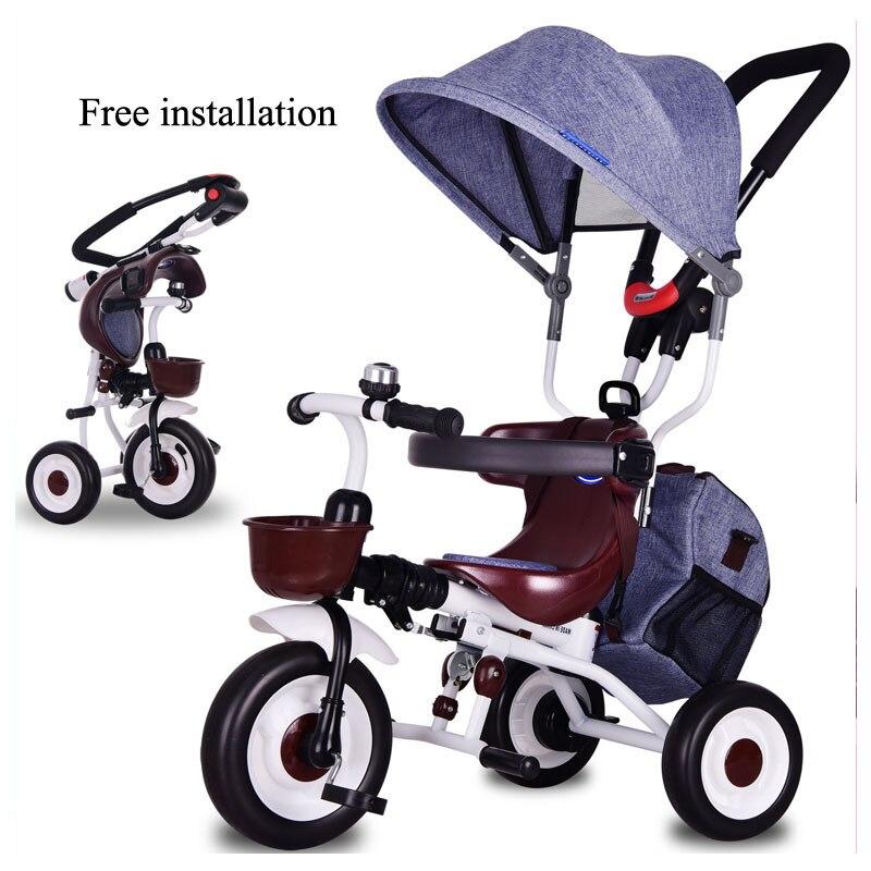 Bébé trois roues poussette Tricycle vélo enfant pliable Tricycle vélo installation gratuite sac de rangement chariot poussette voiture landau
