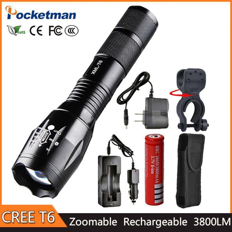 Date 100% Authentique 3800 Lumens 5-Mode XM-L T6 LED Flashlight Zoomables rechargeable Mise Au Point Torche par 1*18650 ou 3 * AAA z92