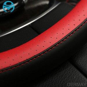 Image 5 - DERMAY רכב הגה כיסוי 38cm אופנה גלגל מכסה עבור נשים ליידי עור היגוי גלגל אוטומטי אביזרי פנים