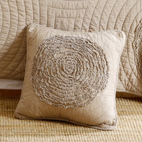 Creative Applique Cushion Cover Embroidered 100% Cotton Quilted Hold Pillow Car Sofa Cushion+Core Gift White Champagne