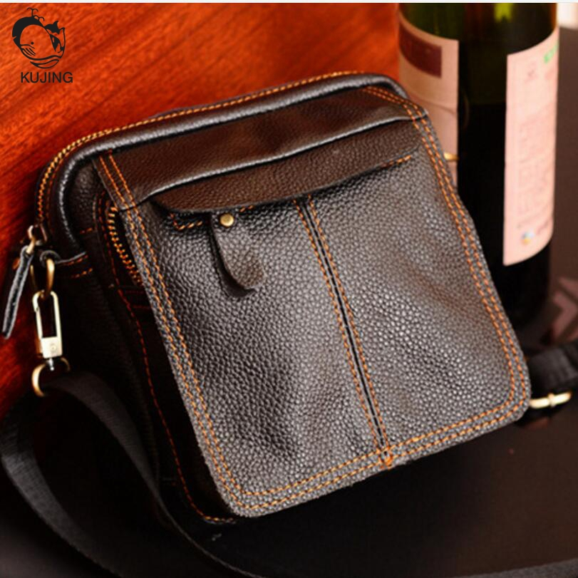 KUJING leather men bag high-quality wear-resistant multi-purpose Messenger bag high-end business travel leisure package kujing backpack high quality jig wear wear denim large capacity student bag free shipping retro travel multi purpose backpack