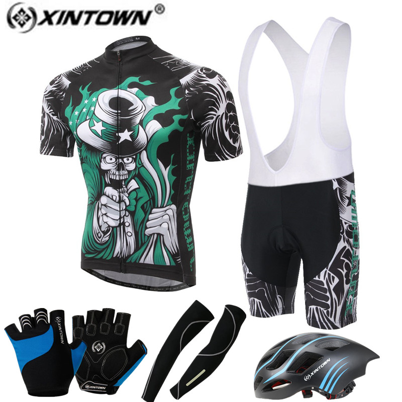 02d18ab87 XINTOWN Pro Bike Jersey Bib Shorts Sets Men mtb Bicycle Clothing Suits  Skull Helmet Gloves Male