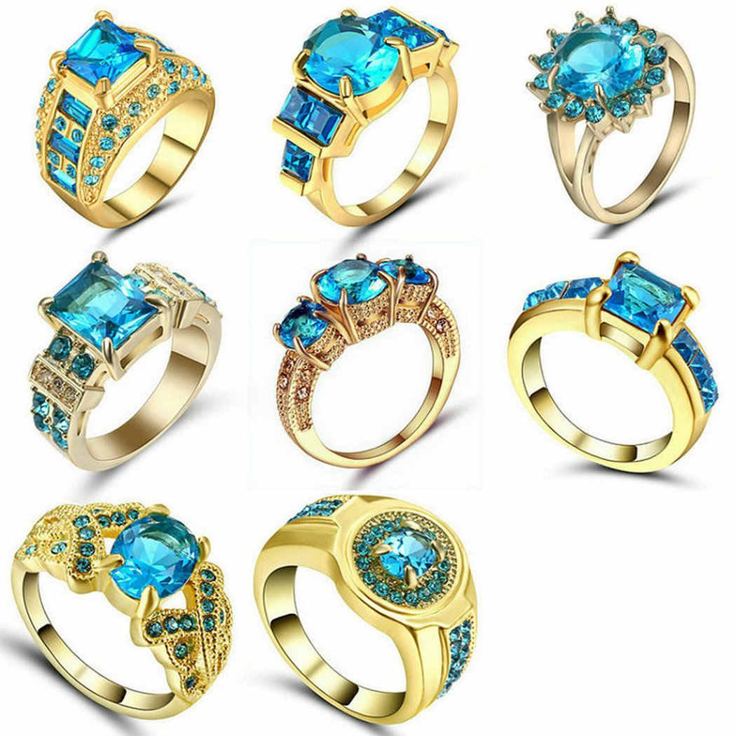 Emas Perak Hitam Warna Sky Blue Batu Zirkonia Wanita Cincin Pertunangan Ukuran 9 Mall Luxury Baik-baik Saja Yang Indah Band Pernikahan Perhiasan