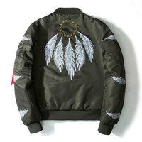 Spring Feather Embroidery Bomber Jacket Men Retro Printed Baseball Jacket Streetwear Cool Men Women Casual Hip Hop Couple Coat