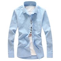 Brand Mens Cotton Shirts Long Sleeve Spring Casual Shirt For Male Oxford Dress Shirt Camisa Masculina