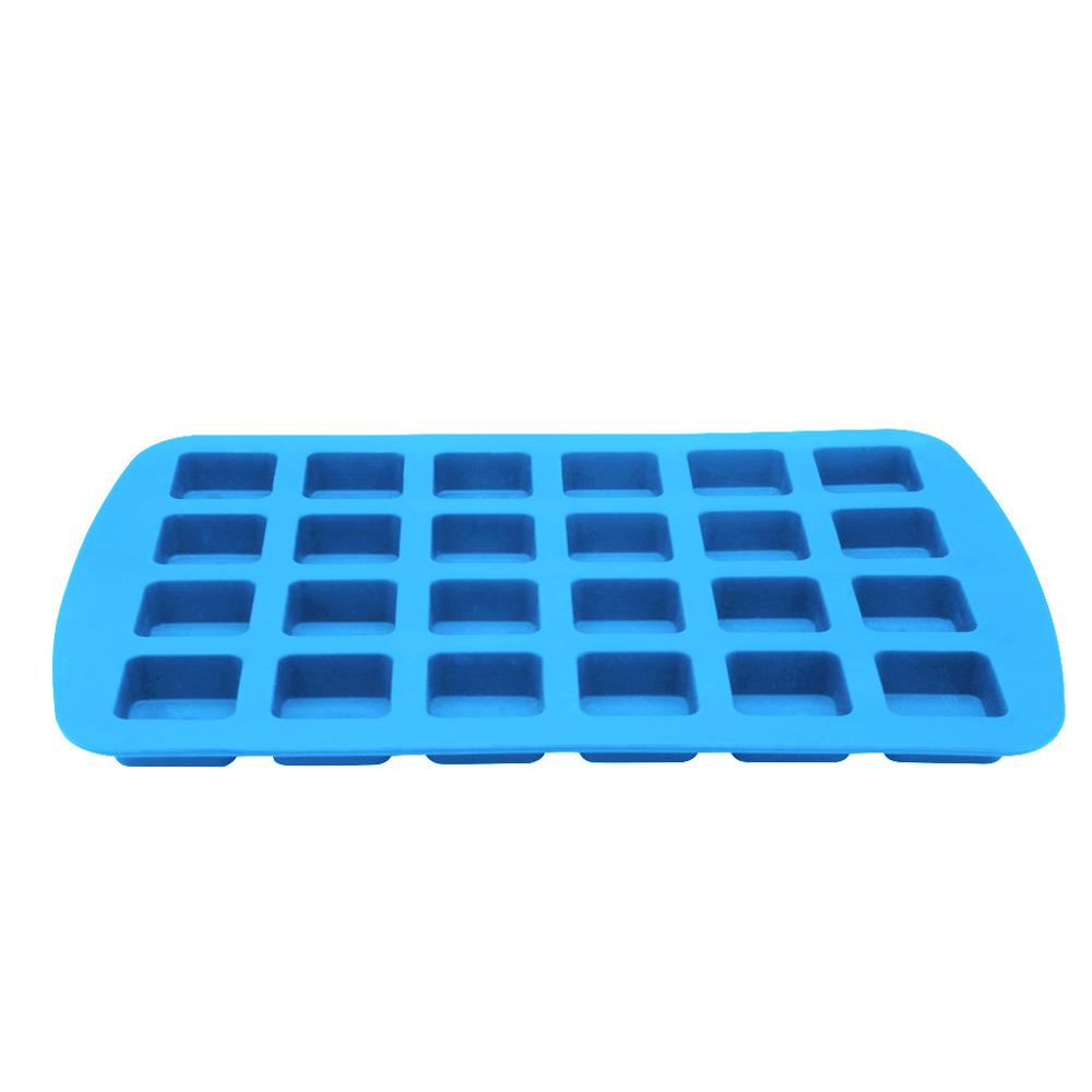 24 grid blue square non-stick silicone material mini chocolate brownie square baking mold baking tray #4M30