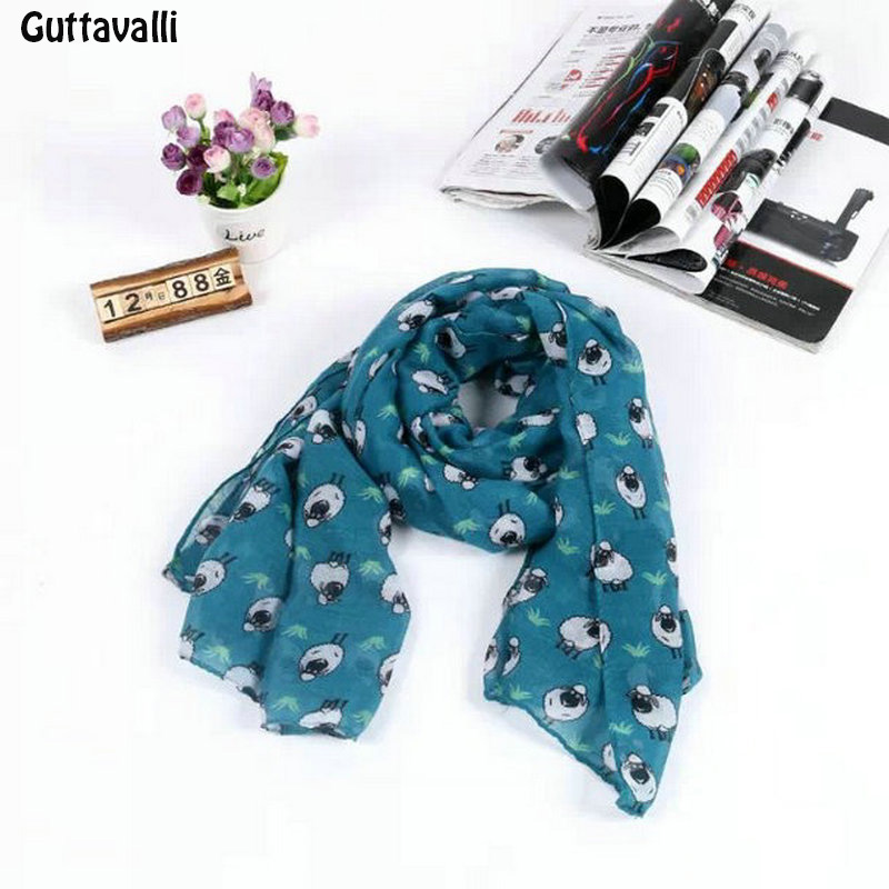 Guttavalli Winter New Charm Colorful Sheep Animal Long Shawl Lovely Women Long Chevron Scarves Fashion Stripe Print Soft Scarf
