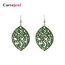 Carvejewl leather earrings leaf dangle earrings for women jewelry girl gift cute new fashion korean earrings 2019 spring style цена и фото