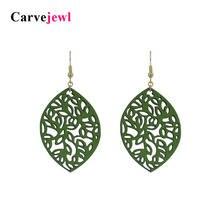 Кожаные серьги carvejewl висячие с листьями для женщин ювелирные