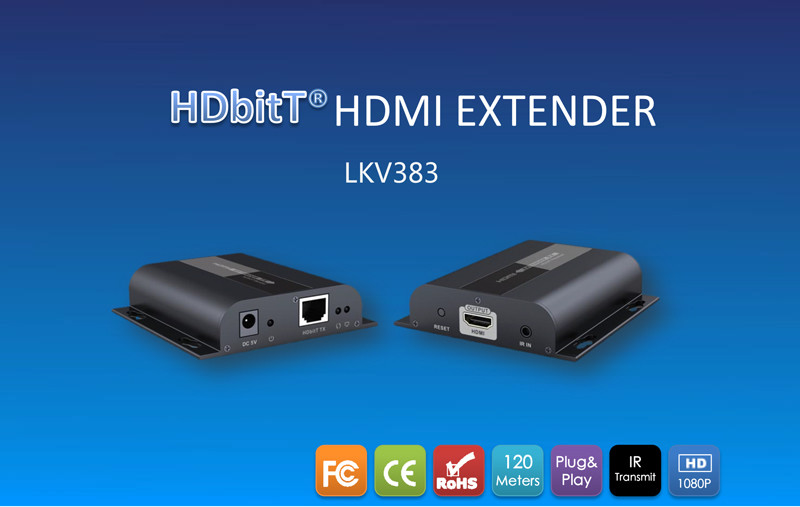 New 150m HD 1080P HDMI Extender TX/RX with IR over CAT6 RJ45 Ethernet Cable Support HDMI 3D for HDTV DVD Player LKV383