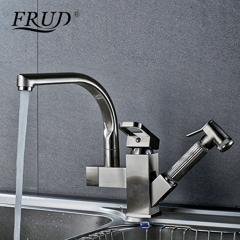 FRUD High Quality Dual Spout Pull Out Kitchen Faucet Mixer Luxury Single Hole Deck Mounted Sprayer Kitchen Taps Sink Y40058 frap kitchen faucets pull out shower sprayer deck mount sink vessel kitchen sink faucet dual spout for kitchen mixer taps y40058
