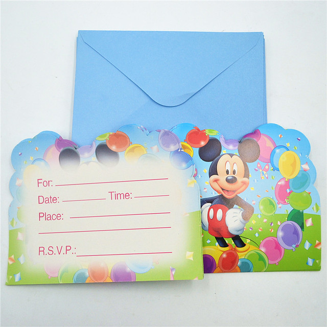 6pcs Lot Cartoon Mickey Mouse Supplies Party Invitation Card Childrens Birthday Decorations Kids Festival