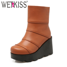 WETKISS Women Winter Boots High Wedges Thick Platform Shoes Party Casual Fall Ankle Boots 2016 Fashion Shoes Woman