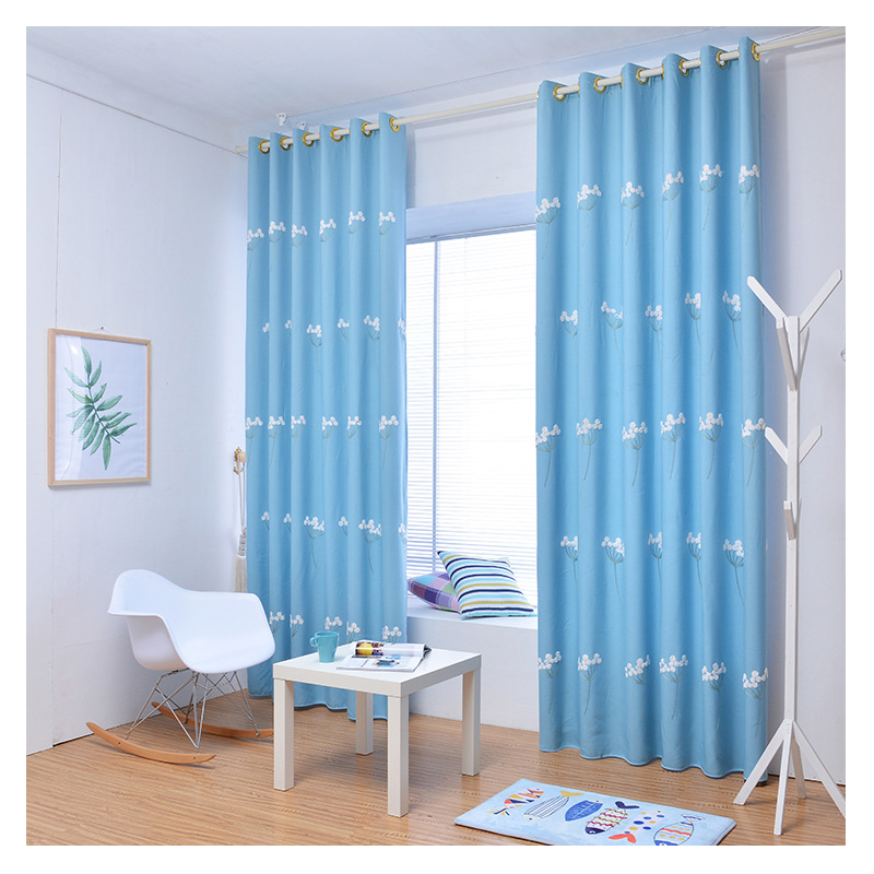 modern window curtains for living room 100 polyester blue