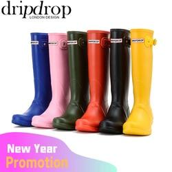 DRIPDROP Original Tall Rain Boots for Women British Classic Waterproof Rainboots Ladies Wellies Wellington Matte Boots