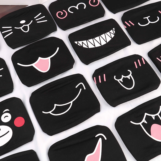 Hot 1PC Black Anti-Dust Cotton Cute Bear Anime Cartoon Mouth Mask Kpop teeth mouth Muffle Face Mouth Masks Women Men 2