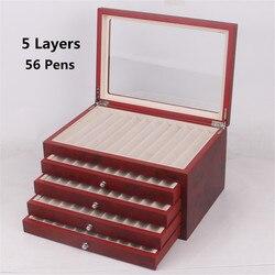 Estuche de madera para estilográfica con 56 ranuras para bolígrafo de 5 capas, estuche de exposición, caja de madera para bolígrafos, organizador para coleccionista, caja negra y roja