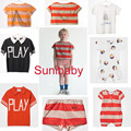 2017 summer style Bobo choses red yellow orange polo stripe  T shirt  Tee top stripe bread pant children kids clothings vestidos