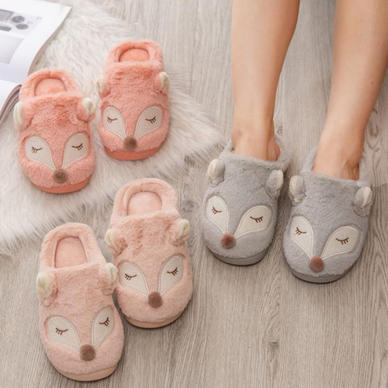 New Gray Cotton Slippers Women 39 s Bedroom Home Thick soled Warm Non slip Slippers Cute Cartoon Fox Month Children Plush Slippers in Slippers from Shoes