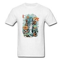 사무라이 정신 남성 화이트 셔츠 잉어 물고기 연꽃 인쇄 짧은 소매 여름 티 독특한 추수 최고 셔츠