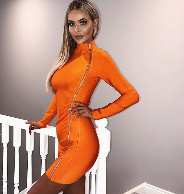 Spirited High Quality Orange Long Sleeve Front Side Zipper Rayon Bandage Dress Night Club Party Dress Women's Clothing