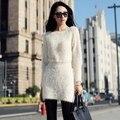 2014 Otoño Invierno de Las Nuevas Mujeres Capa Larga Del Suéter Mujer Paquete Delgado de La Cadera Del O-cuello Suave Pluma de Felpa Suéter Vestido D1626