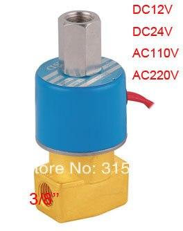 Free Shipping DC12V Electric Solenoid Air Valve Direct Act 3 Way 2 Position NC FKM 3/8'' ports DC24V,AC110V or AC220V 1pcs free shipping good quality 3 port 2 position solenoid valve 3v210 08 nc normally closed have dc24v dc12v ac110v ac220v