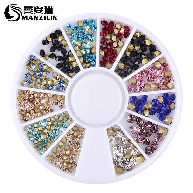 Colorful 2MM 3MM Sharp Crystal Wheel Nail Stickers Decoration 3D DIY Nail Art Glitter Jewelry Rhinestones Manicure tools 12 jars set colorful mini nail caviar glass rhinestones 12 colors micro beads balls manicure tools diy 3d nail art decoration