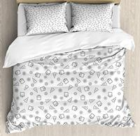Christmas Duvet Cover Set Noel Theme Pattern with Fir Trees Presents Boxes and Snowflake Design Monochrome
